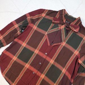 madewell ∙ plaid tie neck shirt